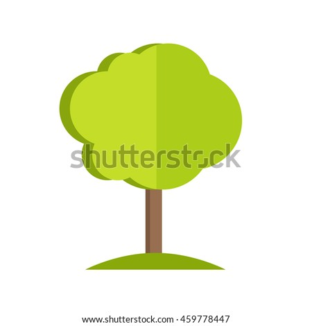 Simple tree with cloud-style crown icon. Vector illustration in flat style design. Plant pattern for environment, gardening, farming, business growing concepts. Isolated on white background.  - stock vector