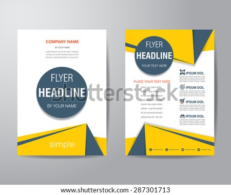 Simple triangle and circle brochure flyer design layout template in A4 size, vector eps10 - stock vector