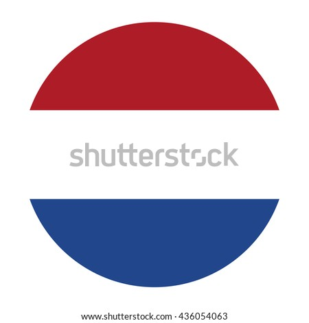 Simple vector button flag - Netherlands - stock vector