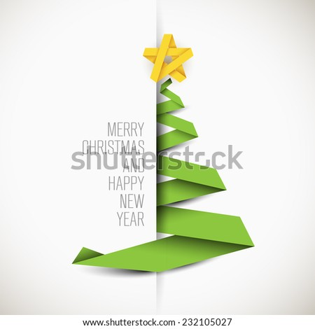 Simple vector card with green christmas tree made from paper stripe - original new year card - stock vector