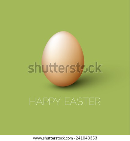 Simple vector Happy Easter card with brown egg on the green background - stock vector