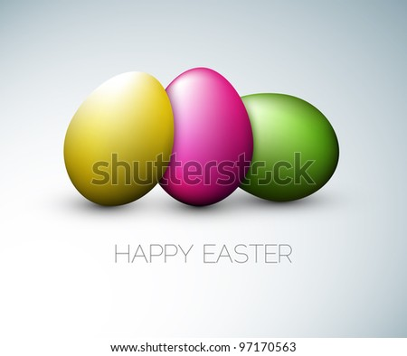 Simple vector Happy Easter card with three colorful eggs on the gray background - stock vector