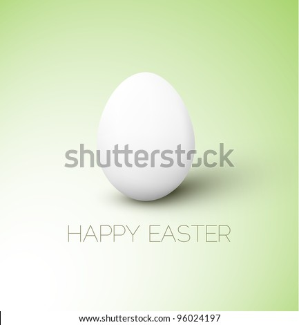 Simple vector Happy Easter card with white egg on the green background - stock vector