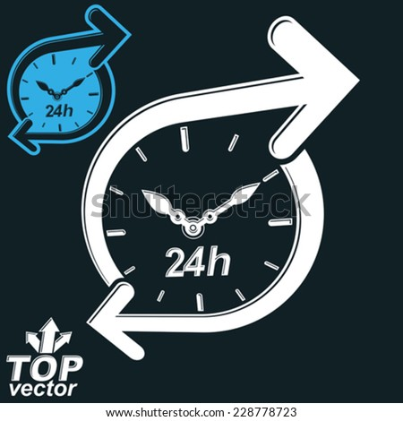 Simple vector 24 hours detailed clock monochrome illustration, invert version included. Around-the-clock dimensional stylized symbol. Twenty-four hours a day conceptual design element. - stock vector