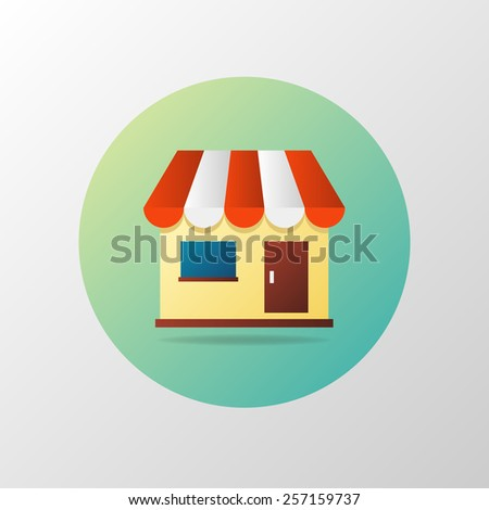 Simple vector icon of shop in circle. Shopping concept. Material design - stock vector