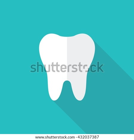 Simple vector icon silhouette of a tooth - stock vector