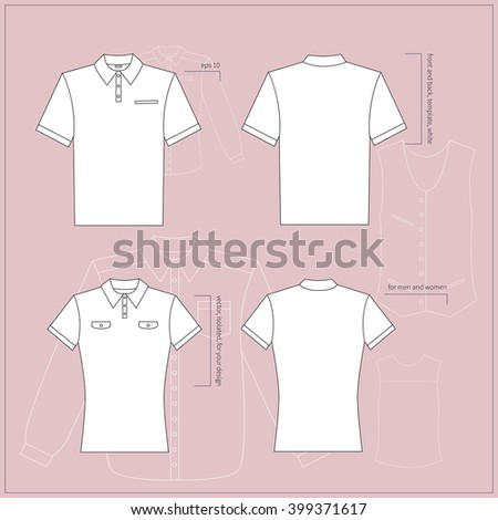 Simple vector illustration. Set of men's and women's clothes. White T-shirts in front and back views. - stock vector