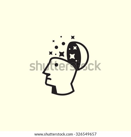 Simple vector logo in a contemporary style. Creative thinking, to look into his head to the man to see it. - stock vector