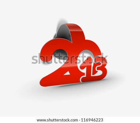 Simple vector new year 2013 made from curl paper cut. - stock vector