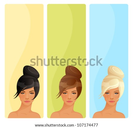 simple vertical banners with beautiful women suitable for hair salon or feminine theme website - stock vector