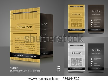 Simple vertical business card design  - stock vector