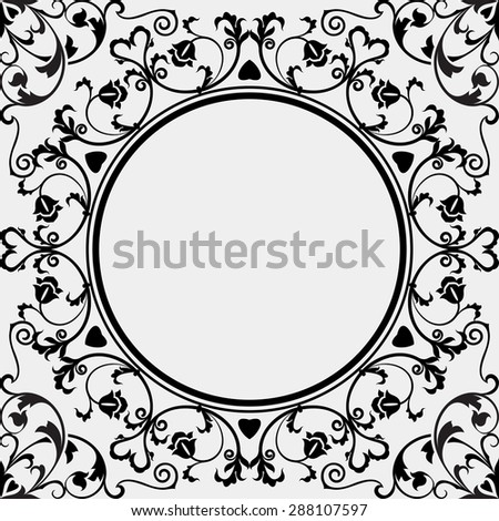 Simple vintage black and white frame vector template. - stock vector