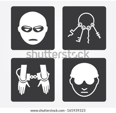 Simple web icon in vector: Crime - stock vector