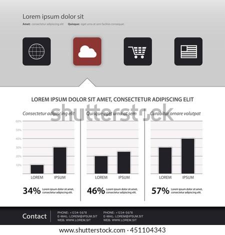 Simple website template, Vector - stock vector