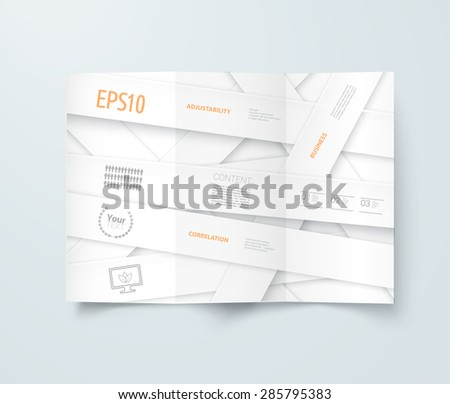 Simple White Paper Cut Concept Page Design For Your Minimal Flyer. Adjustable Eps10 Vector - stock vector