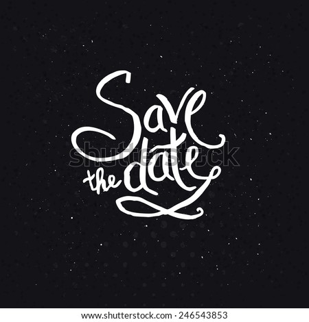 Simple White Text Design for Save the Date Concept on Abstract Black Background, Emphasizing Small White Dots. - stock vector