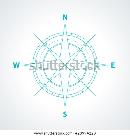 Simple wind rose isolated on white background. Modern thin line compass icon illustration. - stock vector