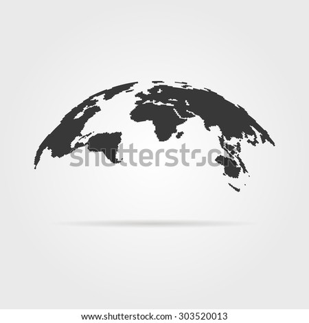 simple world map icon with shadow. concept of infographics element, trip around the world, globalization. isolated on gray background. flat style trend modern logotype design vector illustration - stock vector