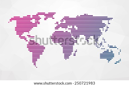 simple world map made up of colored stripes on a bright triangular background - stock vector