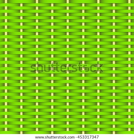 Simple woven wicker texture. Light bright green background. Imitation rattan or willow weaving. Vector Image. - stock vector