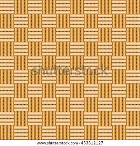 Simple woven wicker texture. Light brown background. Imitation rattan or willow weaving. Vector Image. - stock vector