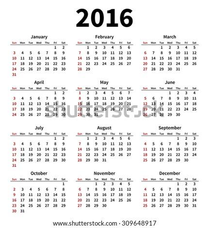 Simple 2016 year calendar on white background. Vector illustration - stock vector