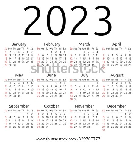 Simple 2023 year calendar, week starts on Sunday, EPS 8 vector - stock ...