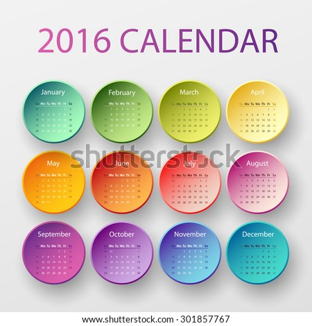 Simple 2016 year circle calendar in bright colors - stock vector