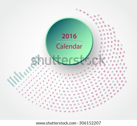 Simple 2016 year circle calendar in hipster colors - stock vector