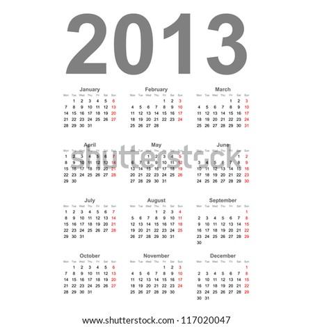 Simple 2013 year vector calendar - stock vector