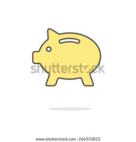 simple yellow piggy bank icon with shadow. concept of poverty, deposit policy, nest egg, money for rainy day and thrift. isolated on white background. flat style modern logo design vector illustration - stock vector