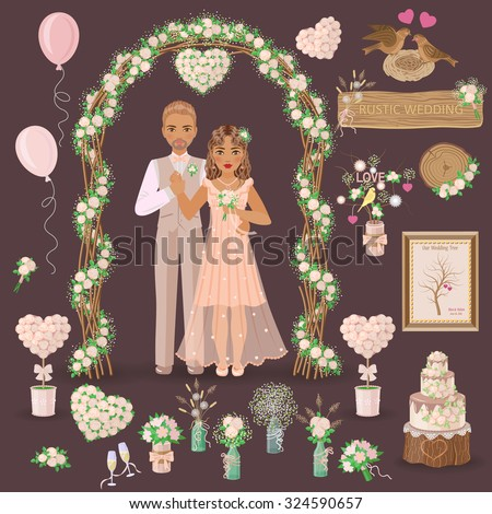Simplified image of bridegroom in beige suit and bride in cream dress, set of floral elements and another things for wedding design isolated on dark. Wedding decoration in rustic style.  - stock vector