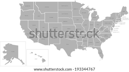 Simplified vector map of United States of America with full names of states - stock vector