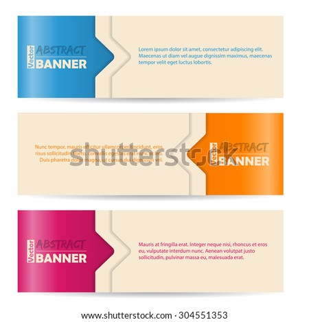 Simplistic banner set with arrows and color background  - stock vector