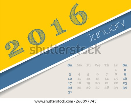 Simplistic 2016 calendar design for january month - stock vector