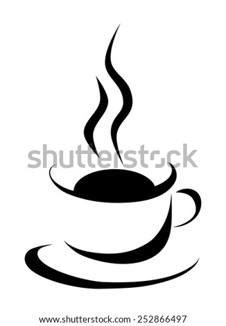 Simplistic coffee cup sign. Hot drink - tea or cafe in mug that smoke, simple web icon. vintage line style design, black color symbol, vector art image illustration, isolated on white background - stock vector