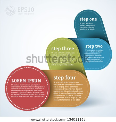 Simply infographic step by step template - stock vector