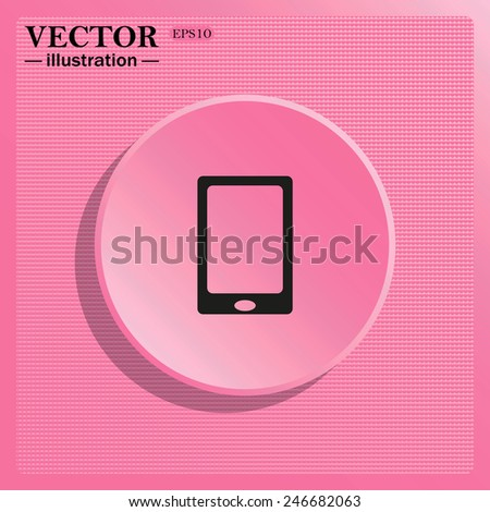 Simulating the structure of plastic. On a pink background pink circle with a shadow. Smartphone, phone, mobile phone , vector illustration, EPS 10 - stock vector