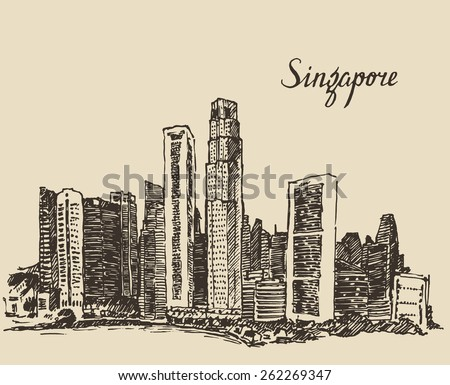 Singapore, big city architecture, vintage engraved illustration, hand drawn, sketch, Republic of Singapore - stock vector