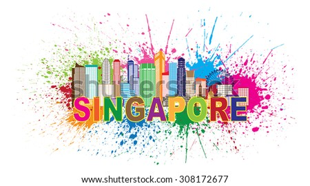 Singapore City Skyline Silhouette Outline Panorama Color with Text and Paint Splatter Abstract Isolated on White Background Vector Illustration - stock vector
