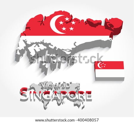 Singapore 3D ( Republic of Singapore ) ( map and flag ) ( transportation and tourism concept ) , singapore is one of AEC ( ASEAN Economic Community ) - stock vector