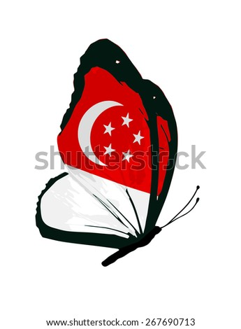 Singapore flag butterfly - vector - stock vector