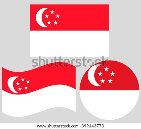 Singapore Flag Set - stock vector