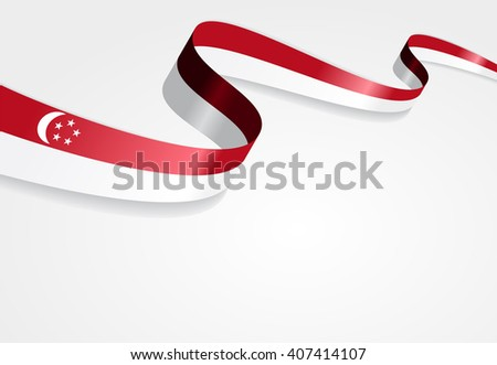 Singapore flag wavy abstract background. Vector illustration. - stock vector
