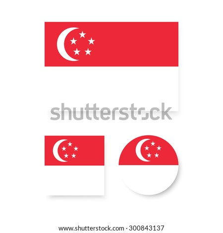 Singapore flags. Vector flat design. Icon for presentation, training, marketing, design, web. Can be used for creative template, logo, sign, craft. Isolated on white background.  - stock vector