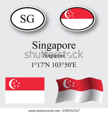 singapore icons set against gray background, abstract vector art illustration, image contains transparency - stock vector