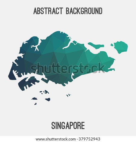 Singapore map in geometric polygonal style.Abstract tessellation,modern design background. Vector illustration EPS8 - stock vector
