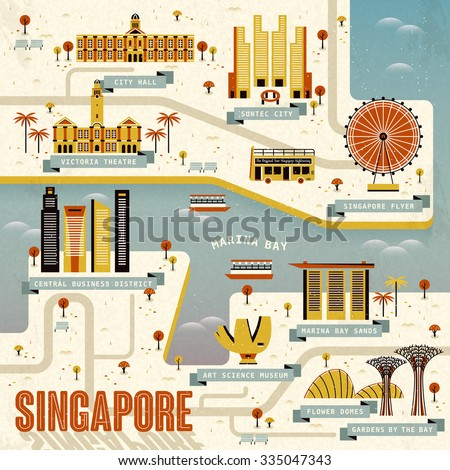 Singapore Marina bay travel map in flat design  - stock vector