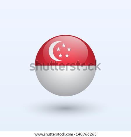 Singapore round flag. Vector illustration. - stock vector