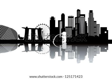 Singapore skyline - stock vector